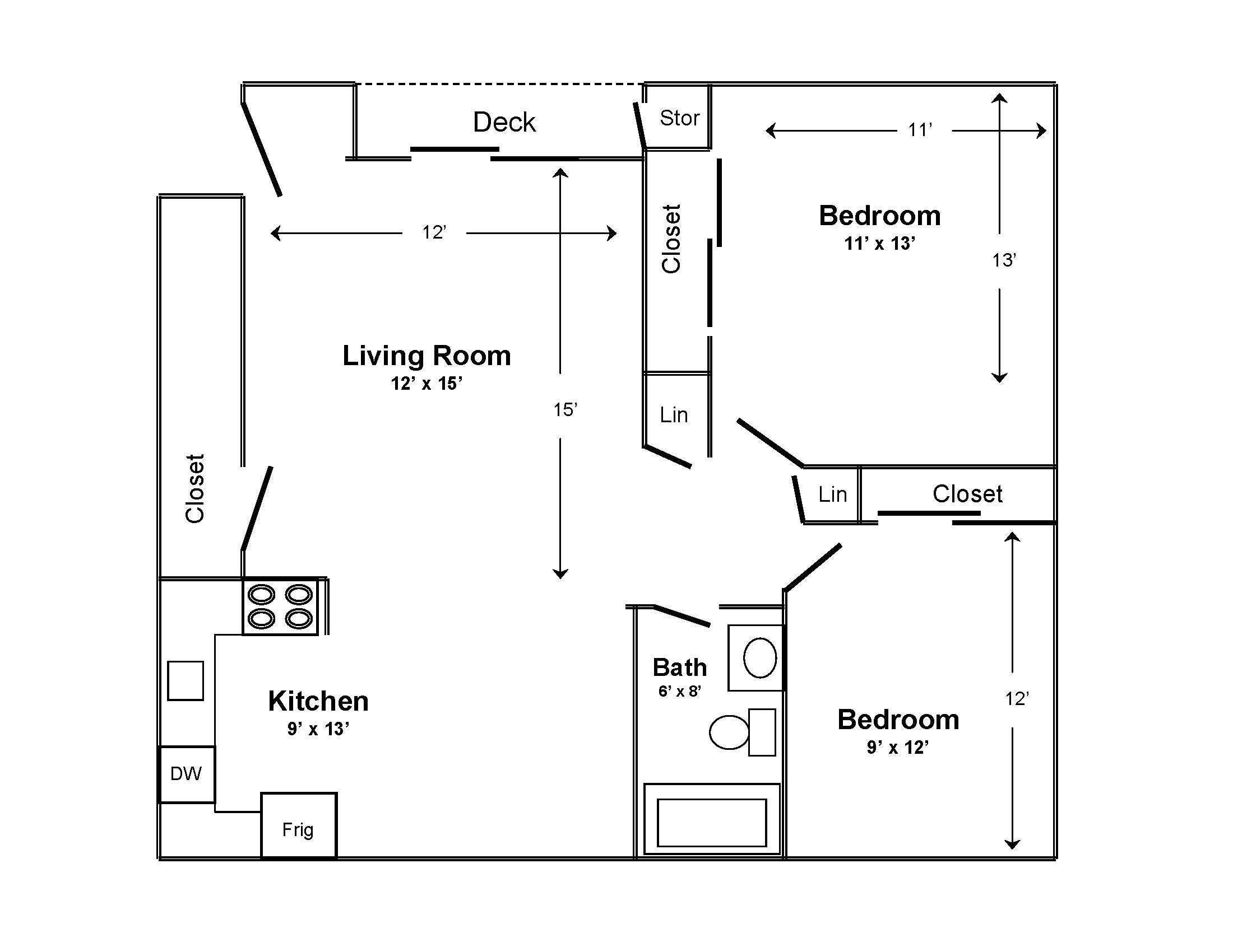 existing apartment floor plan kna oak park apartments