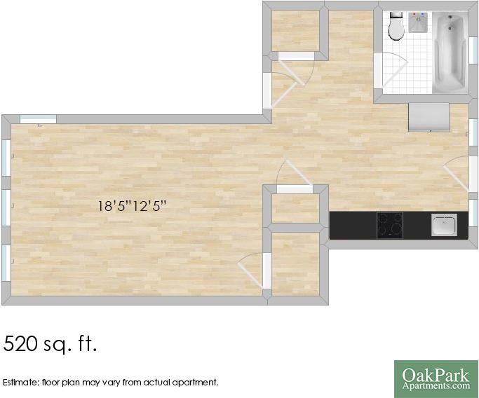 304 Washington Blvd. #2N Studio Apartment