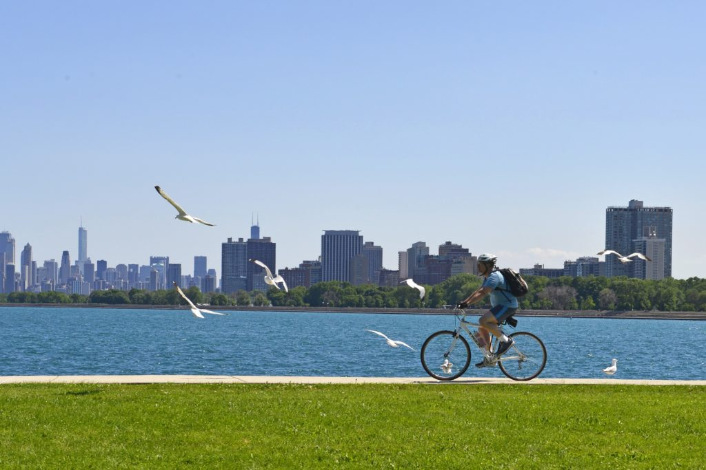 Bicyclist riding along Lake Michigan with seagulls and Chicago skyline in background