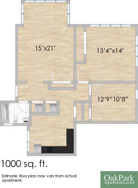 305 S. Oak Park Ave. #3S Two-Bedroom Apartment