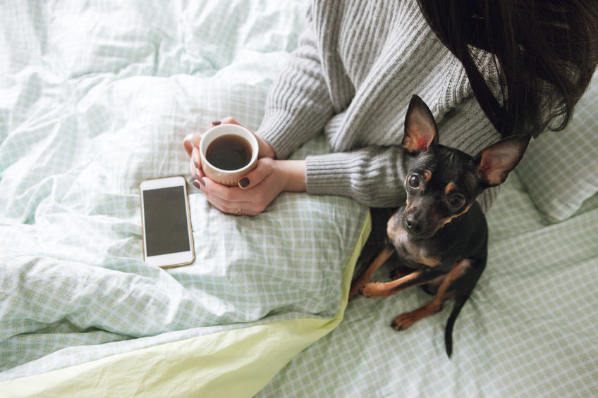 Woman snuggled up with a small dog, a cup of coffee and a smart phone.