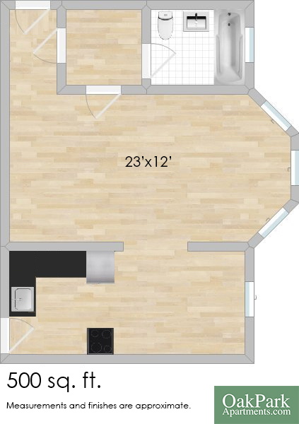 303 N. Oak Park Ave. #1D Studio Apartment